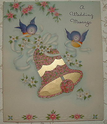 UNUSED - Foil - Flowered Wedding Bell, Birds - 1950's Vintage Wedding Card