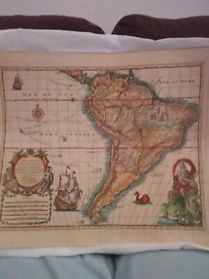Antique 1694 Sanson & Motier Copperplate Engraved South America Map