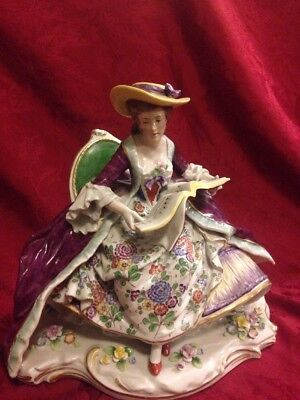 Very Large Sitzendorf Dresden Figurine Lady With Songbook