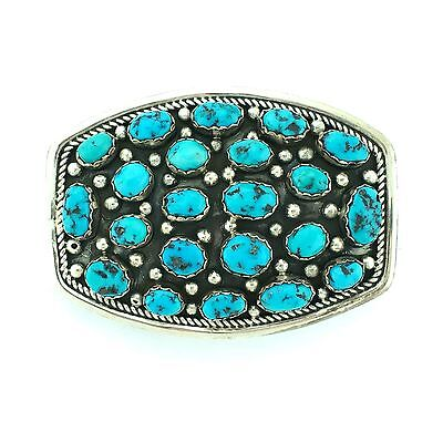 Navajo Johnson Sterling Silver Kingman Turquoise Nugget Rounded Belt Buckle