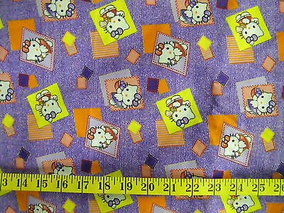 Hello Kitty Purple Striped Print 100% Cotton Fabric By The 1/2 Yard  Vintage
