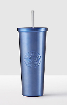 NEW 2017 STARBUCKS COLD CUP MIDNIGHT BLUE MATTE STAINLESS STEEL TUMBLER 24 fl oz