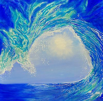 original oil painting on canvas by Terrel ocean sea wave surf art blues
