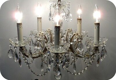 Antique Vintage Marie Therese 5 Light Crystal Prisms Petite Chandelier