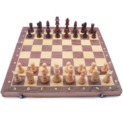 Wood Chess Wooden Board Hand Crafted Folding Chessboard Travel Game Set