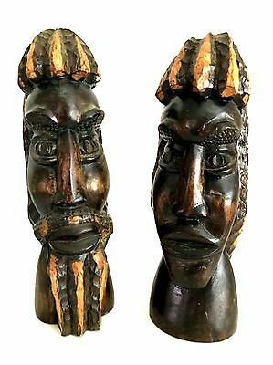 Carved Wooden Folk Art Man & Woman Busts Rasta Jamaica African American 10.5 in