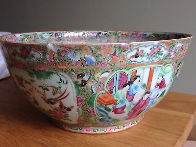Antique 19th century Chinese famille rose very large pottery punch bowl