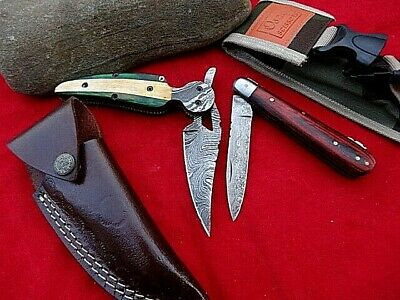 "8.5"" DAMASCUS Bush Hunting/Camping/Fishing Knife + 8"" Half Bone Handle Knife"