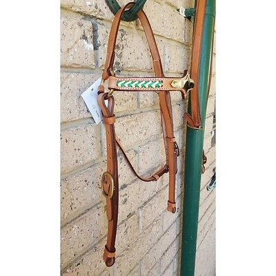 Bridle leather barcoo camp drafting stock horse full size green gold
