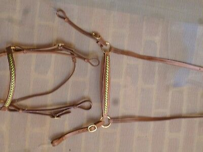 Bridle leather barcoo camp drafting stockhorse full cob size green gold RI9