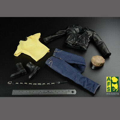 """1/6 Sacle Male Leather Coat Pants Hat Shoes Clothing Motorcycle 12"""" Figure Body"""