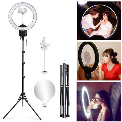 65W Dimmable Ring Light Lamp + Mirror Phone Holder + Stand fr Studio Photo Video