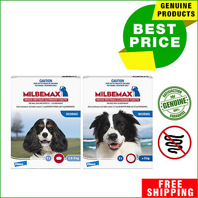 Milbemax Allwormer for Dogs 2 Tablets Dog worm treatment All Sizes