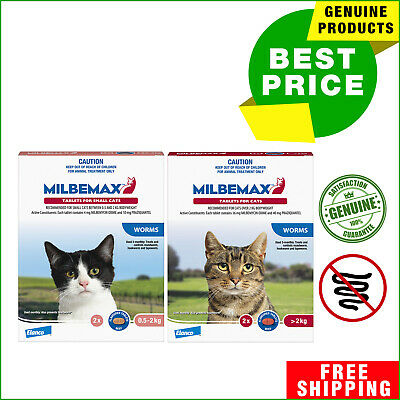 Milbemax Allwormer for Cats 2 Tablets Cat Worm treatment All Sizes