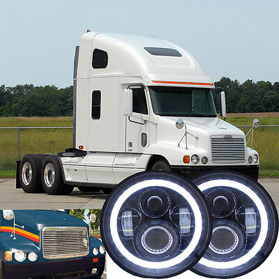 2x 60W 7inch Round Black Headlight For Freightliner Century Hi/Lo Beam HID Lamp
