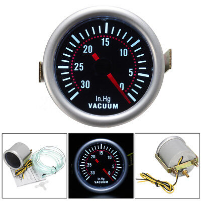 "2"" 52mm Universal Car White LED Turbo Boost Vacuum Press Gauge Meter Pointer"