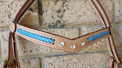 Ri11 Blue bling leather barcoo bridle cob full campdraft stockhorse