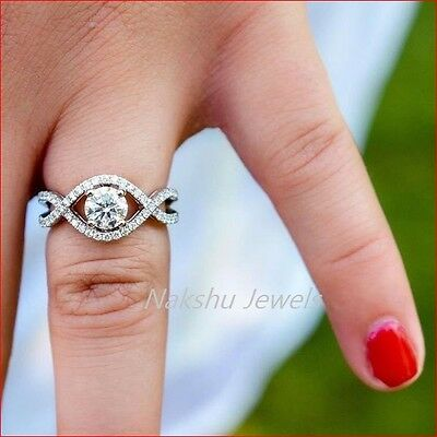 1CT Off White Moissanite Round Halo Engagement Wedding Ring 925 Sterling Silver