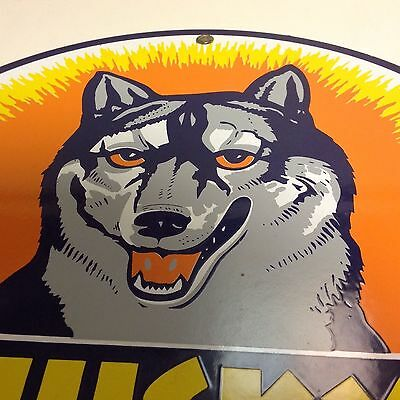 Husky Gasoline Porcelain Motor Oil & Gas Pump Plate Service Station Sign