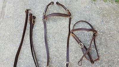Ri6 Brown V brow barcoo breastplate set campdraft stockhorse leather full cob