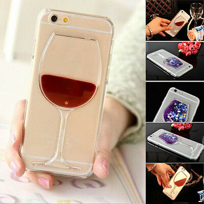 Xmas Liquid 3D Red Wine Glass PC Bottle Case Cover For iPhone 5 6 6s 7 8 Plus Xs