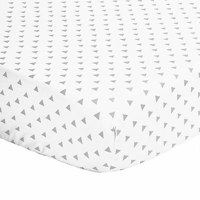 Grey Triangle Print 100% Cotton Sateen Fitted Crib Sheet by The Peanut Shell