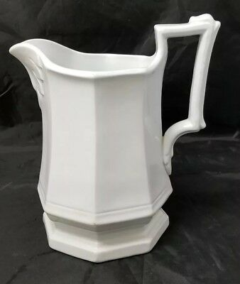 "Ironstone China Pitcher: Vintage White 8"" Pitcher, J. Meir & Sons,"