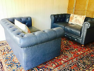 Chesterfield Vintage Sofa loveseats matching pair blue