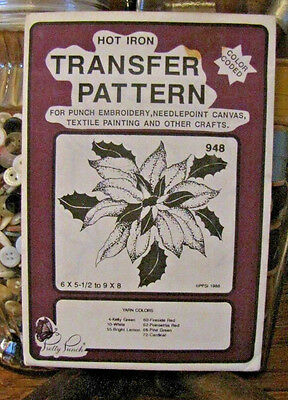 Pretty Punch Iron Transfer Pattern, Punch Embroidery, etc. Poinsettia #948 -NOS