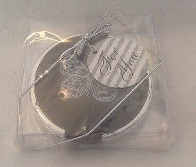 ** NEW ~ Dual Sided ~ Compact Mirror ~ Black With Butterfly Design **
