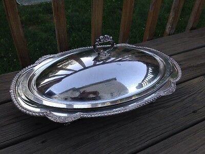 Vintage Silverplate Oval 3 Quart Casserole Serving Dish Pyrex Liner 812