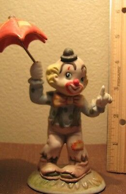 """Clown with Umbrella - Nice - Unique - Excellent Condition - 5"""" overall height"""