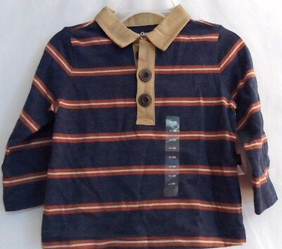 Boys 12-18 Month Blue Striped Tan Collar Large Button Polo Shirt Nwt ~ Gap