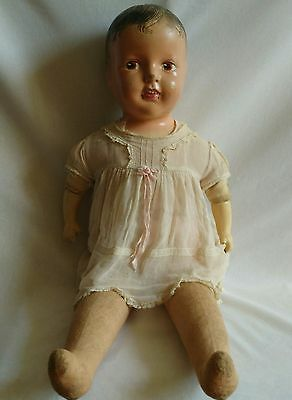 """Vintage 1941 Dee And Cee Doll Canada Large  27"""" Cloth And Straw Original Dress"""