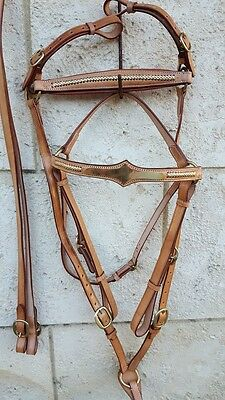 Ri4 Bridle breastplate chestnut stock horse barcoo rodeo camp drafting cob full