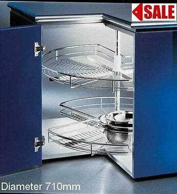 ROTARY 2TIER 3/4WIRE CORNER CAROUSEL BASKET  LAZY SUSAN 710mm