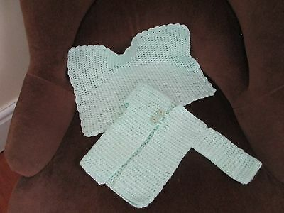 New Hand Crocheted Pale Green baby Jacket & Blanket.