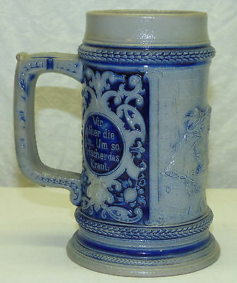 Old Gerz Germany Cobalt Blue Salt Glaze 0.5 L Beer Stein Mug w/ German Saying