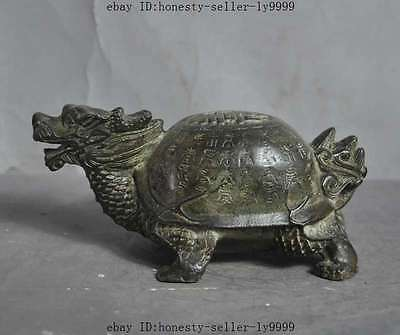"""6""""old chinese fengshui bronze lucky longevity Dragon head turtle tortoise statue"""