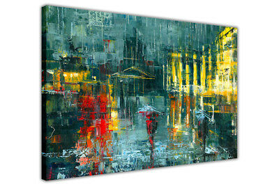 Abstract Rainy City Framed Canvas Wall Art Prints Home Decoration Pictures