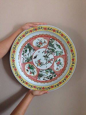 Vintage Chinese famille verte very large porcelain charger / plate - Kangxi mark
