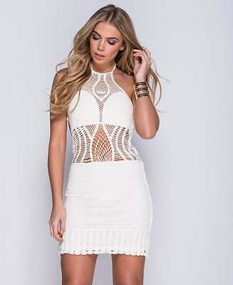 White crochet dress Size 8 holiday, summer lace