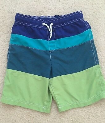 Lands End Boys Swim Shorts Size 10-12 M Green Blue EUC