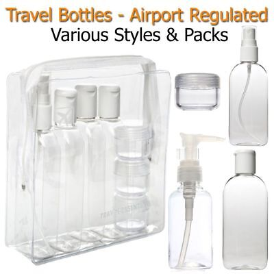 Holiday Travel Bottles 100ML Plastic Toiletry Clear Pump Spray Liquid Shampoo
