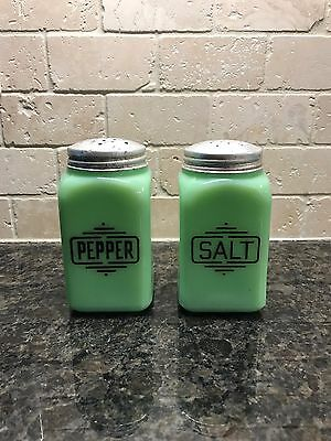 Vintage SET of Jadite Jadeite Green SALT & PEPPER Shakers w Lids Depression Era