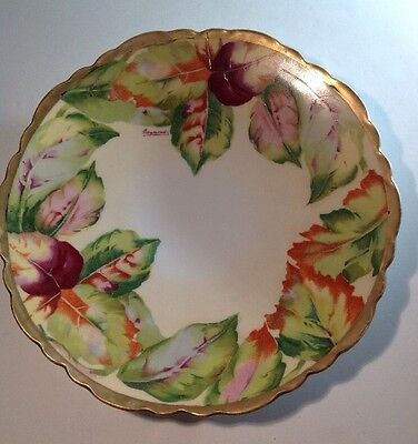Vtg Royal AUSTRIA O&EG Hand Painted Plate with Leaves Gold Edge ~ SIGNED Raymond