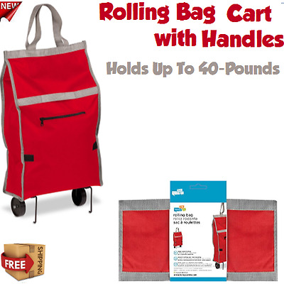 Wheeled Shopping Trolley Folding Lightweight Laundry Multipurpose Red Cart Bag