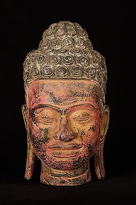 Antique Thai Style Southeast Asia Red Wood Buddha Head Statue - 49cm/19.5""