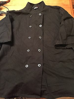 Adult Chefwear Black CHEF JACKET Button Front S/S Shirt Jacket  Size 2XL Uniform