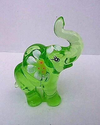 Fenton Green Art Glass Hand painted Elephant Figurine C Smith
